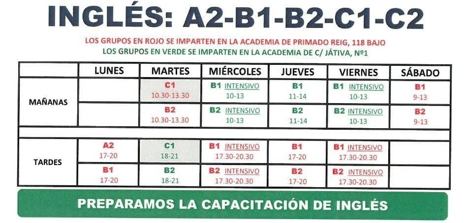 clases de inglés en Valencia - horario 2018