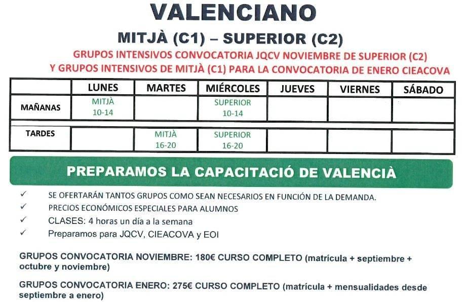 clases de valenciano en Valencia - horario 2018