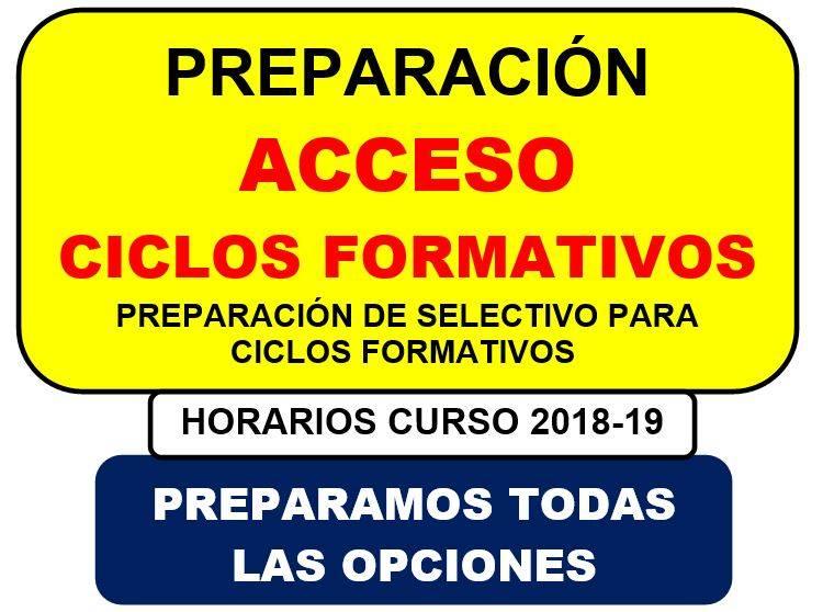 Horarios para preparacion de prueba de acceso a ciclos for Ciclos formativos de grado superior valencia