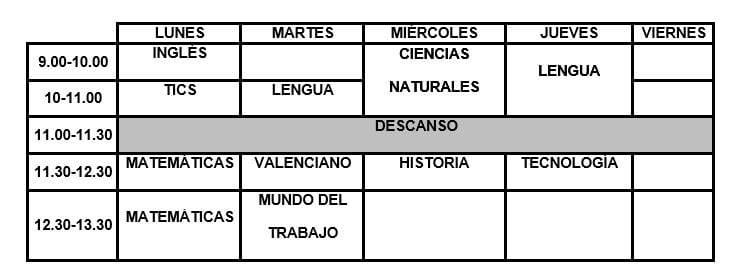 preparacion de prueba de acceso a ciclos formativos en Valencia - horario grado medio
